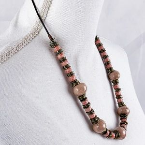 Blush Red Speckled Stone Bead Necklace Vintage